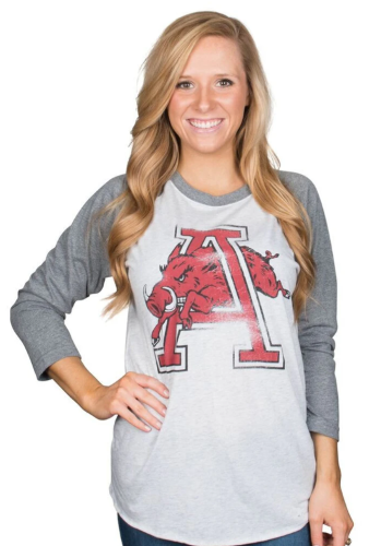 Arkansas Razorbacks Vintage Logo 3/4 Sleeve Tee