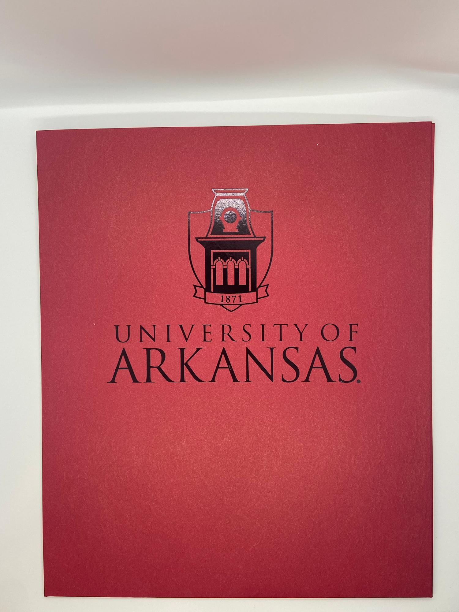 image of: University of Arkansas Tower Folder - Crimson