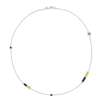 Cal Logo Engraved Sapphire 5 Station Necklace in Blue and Yellow