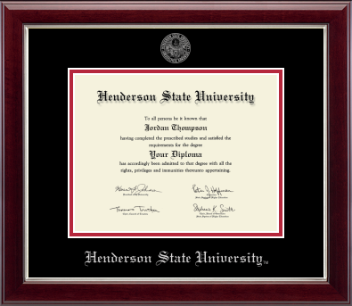 image of: Silver Embossed Black and Red Mat Diploma Frame