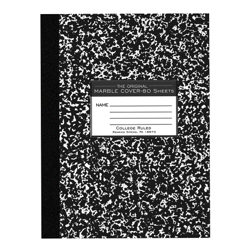 Roaring Spring Marble Composition Book - Black 8x10.25in 80Sht