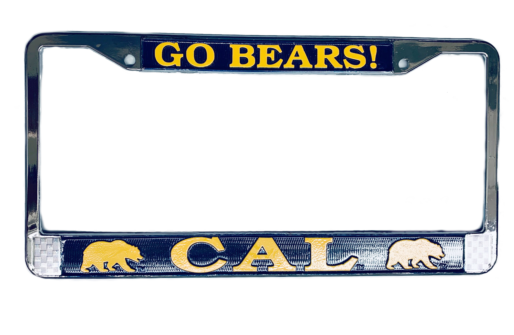 Chrome License Plate Frame Go Bears!