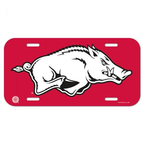 Arkansas Razorbacks Running Hog License Plate - Crimson