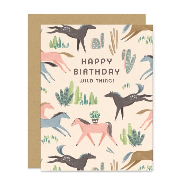 Wild Mustang Birthday Card