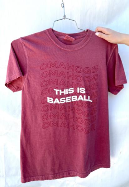 Arkansas Razorbacks Comfort Color This is Baseball Omahogs Short Sleeve Tee