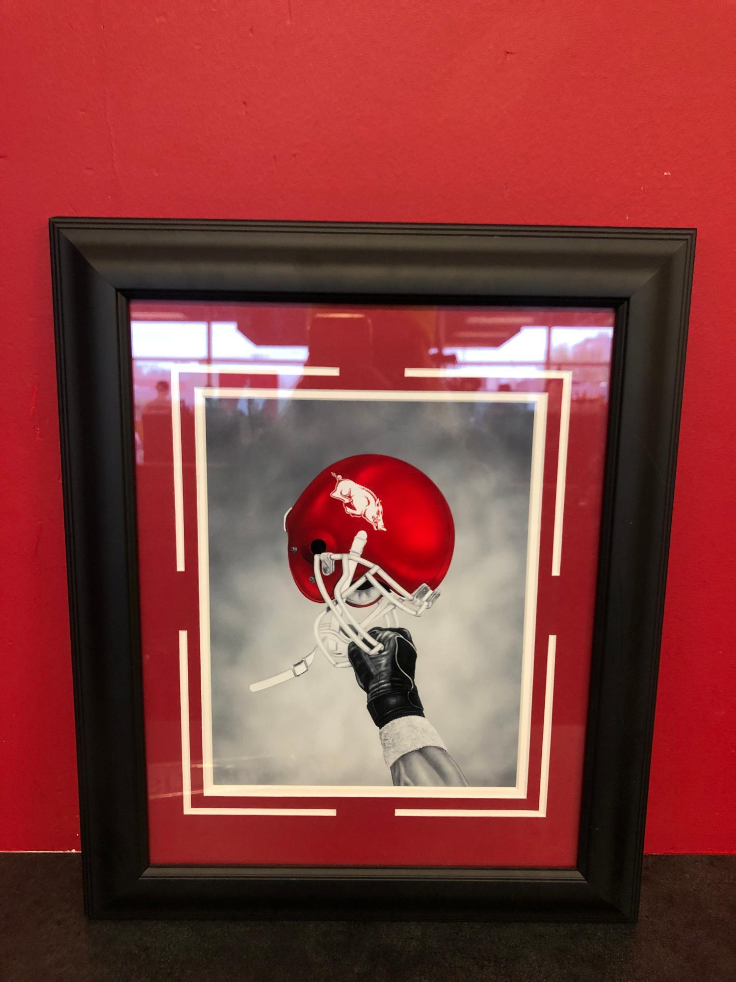 image of: Arkansas Razorbacks Helmet in Air Framed Print