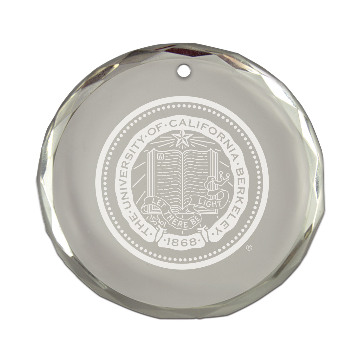 Detailed image of Berkeley Seal Round Crystal Ornament