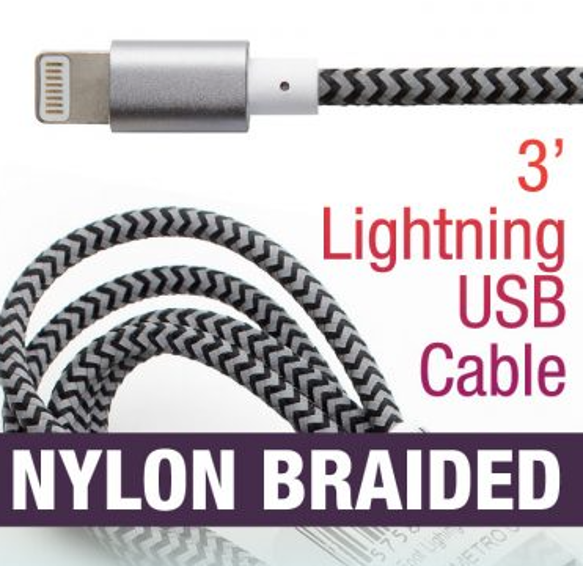 image of: 3' Nylon Braided Lightning Compatible Cable