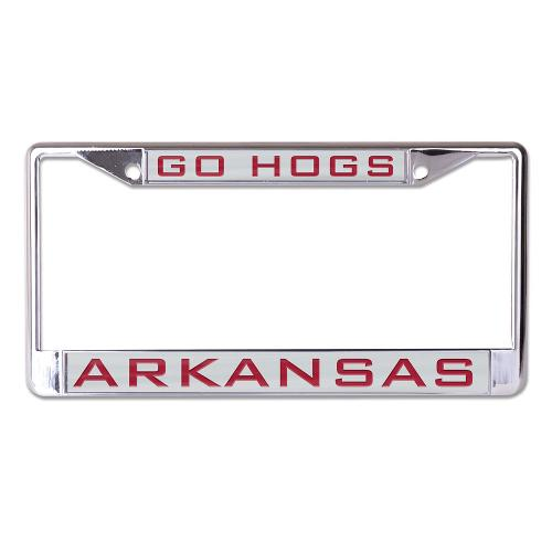Arkansas Razorbacks Go Hogs Arkansas Silver Metalic License Plate Frame