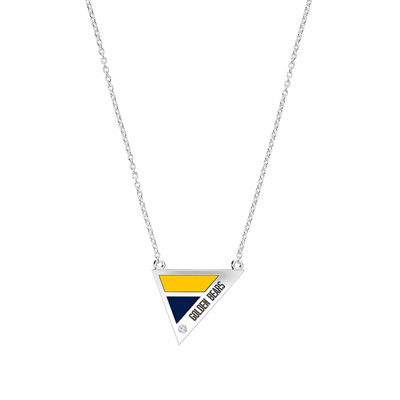 Engraved Diamond Geometric Necklace in Blue and Yellow