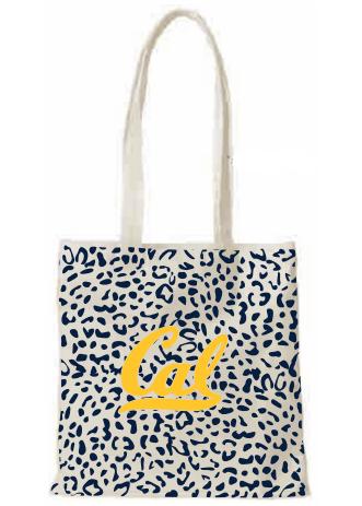 Detailed image of Tote Bag Natural Canvas Cal Logo Leopard Print