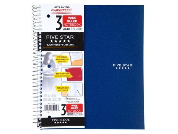 3 Subject Spiral Notebook (Wide Ruled)