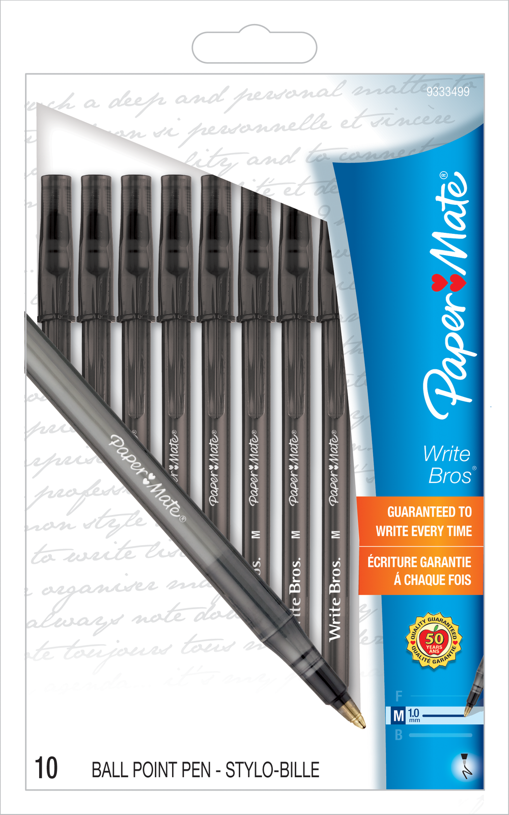 Paper Mate Write Brothers Ballpoint Pen Black 1.0mm BP 10 Pk