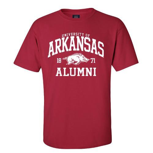 University of Arkansas Logo Alumni Short Sleeve Tee- Crimson