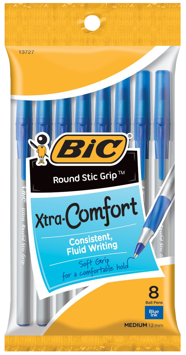 Ultra Round Stic Grip Ballpoint Pen Blue 1.2mm BP 8 Pk