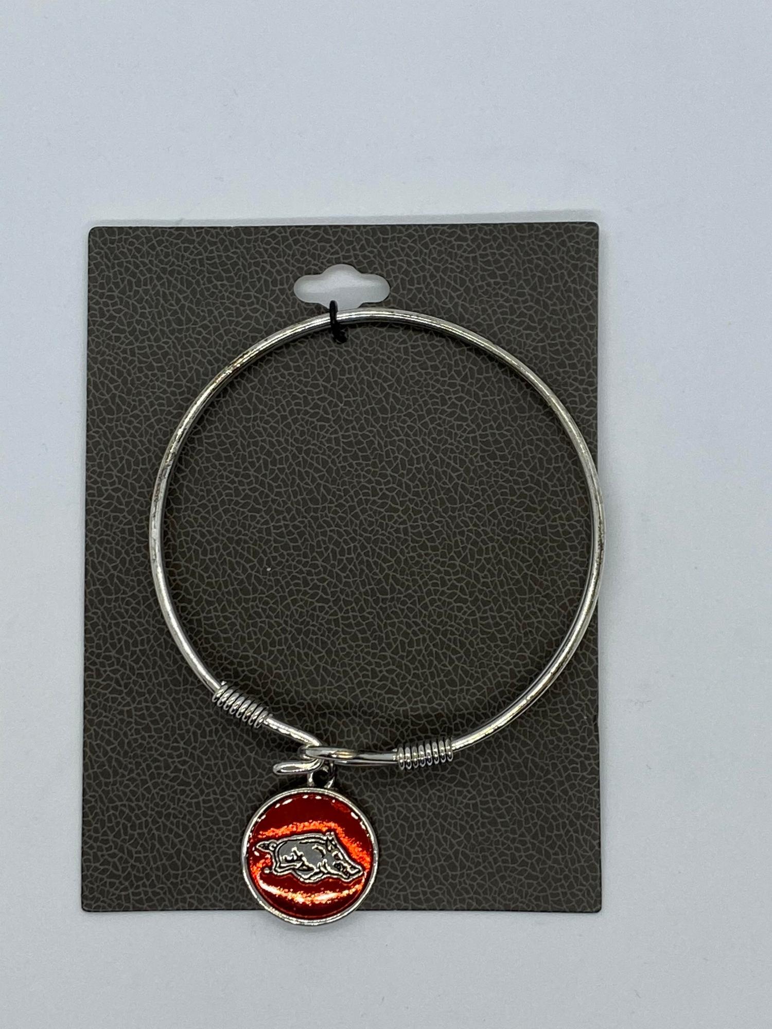 image of: Arkansas Razorbacks Bangle Bracelet Epoxy Charm