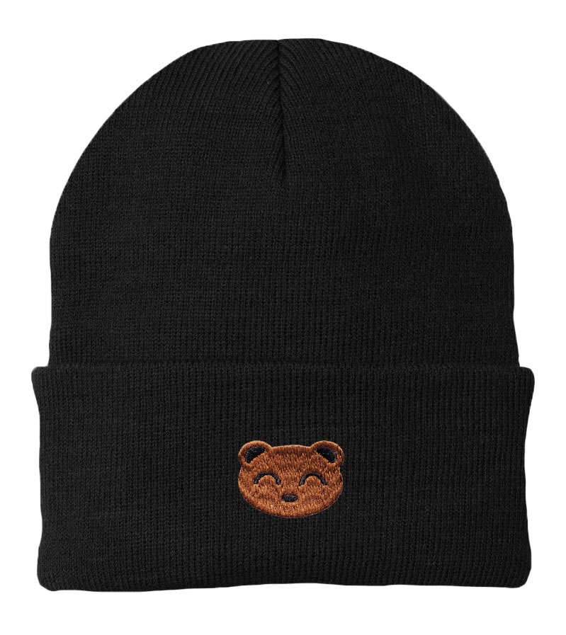 Embroidered Bear Beanie