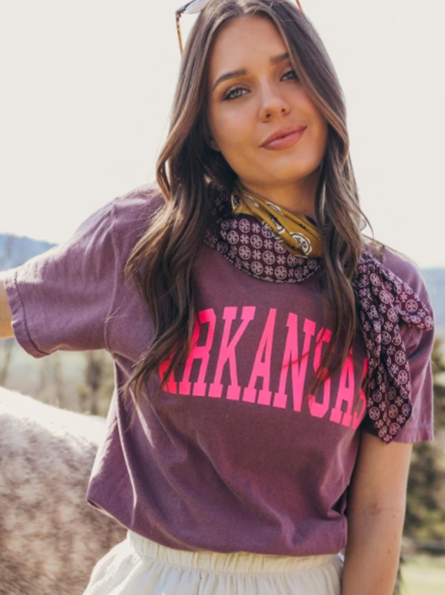 image of: Arkansas Comfort Color Neon State Tee- Purple