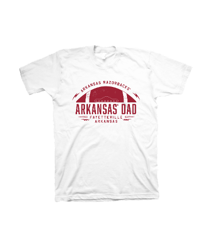 Arkansas Razorbacks Men's Comfort Color Dad Football Short Sleeve Tee- White