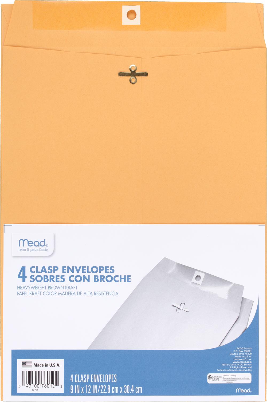 image of: Mead Clasp Envelope - Brown Kraft 9x12in 4Pk BP