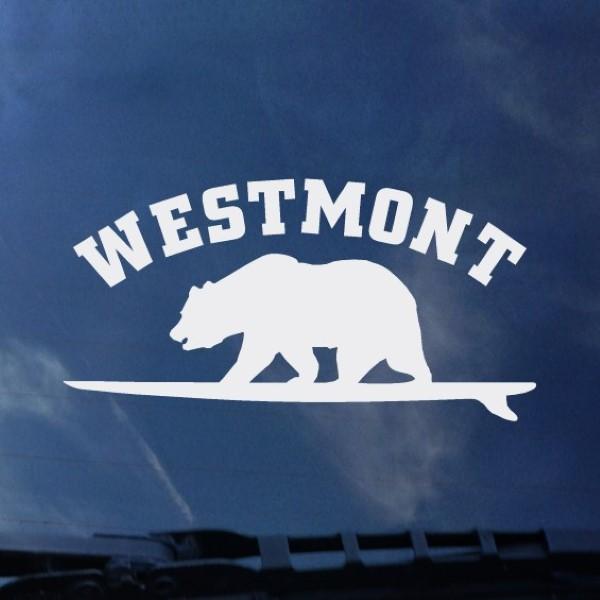 image of: Color Shock Westmont Surf Bear Decal