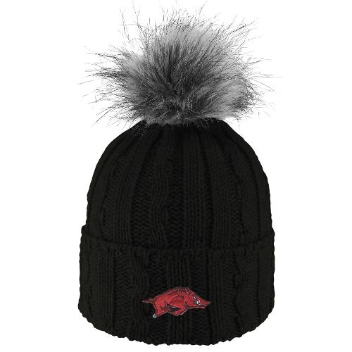 Arkansas Razorbacks Knit Cuff Faux Fur Pom Beanie - Black