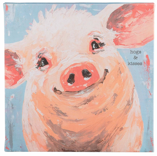 Glory Haus Hogs and Kisses Pig Canvas