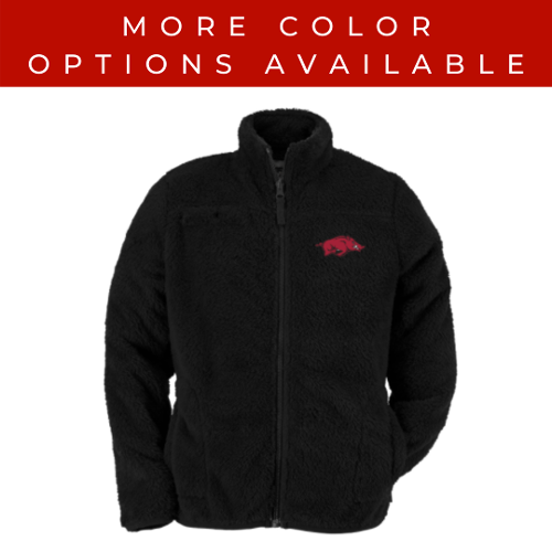 Arkansas Razorbacks Youth Running Hog Sherpa Jacket - Black & Red