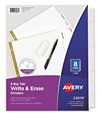 8 BIG TAB WRITE AND ERASE DIVIDERS