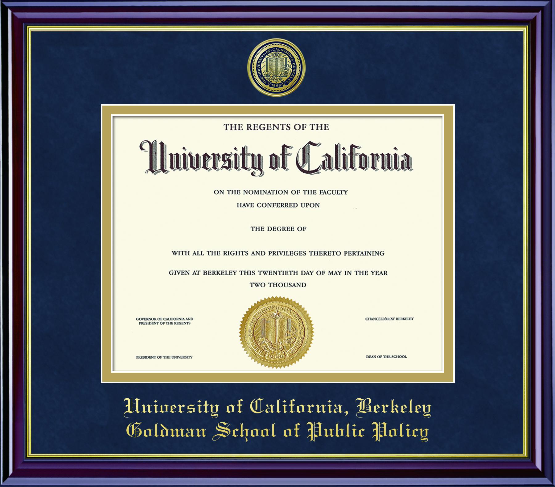 image of: Diploma Frame Mahogany Gold Goldman School of Public Policy