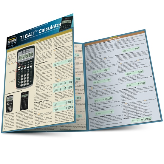 TI BA II PLUS CALCULATOR LAMINATED REFERENCE GUIDE