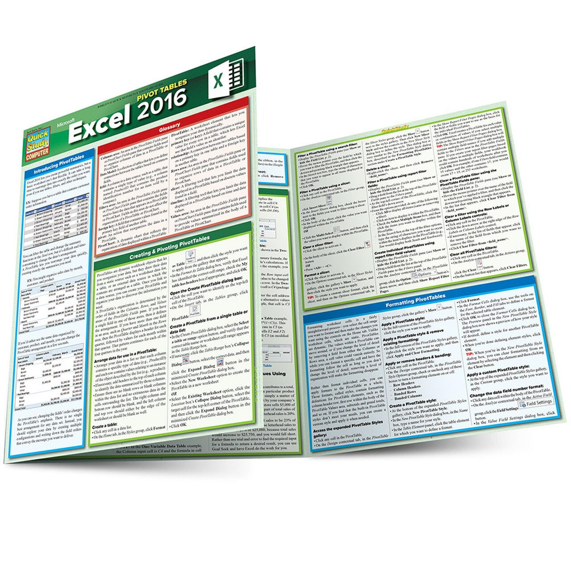 image of: EXCEL 2016 PIVOT TABLES LAMINATED REFERENCE GUIDE