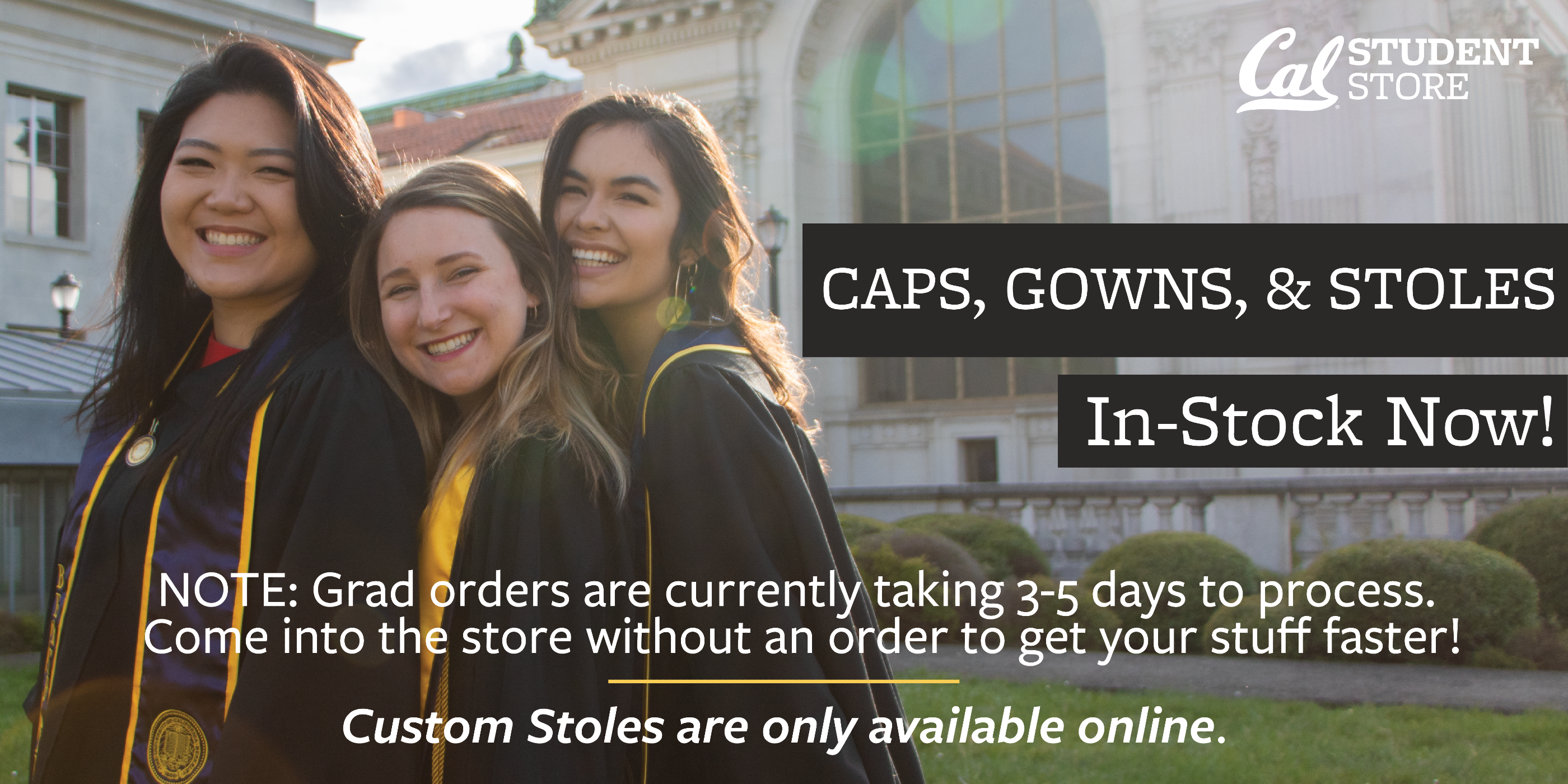 Caps, Gowns and stoles are in stock now.