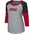 Image for the Women's Gray with Black & Red Color Block Baseball Tee product