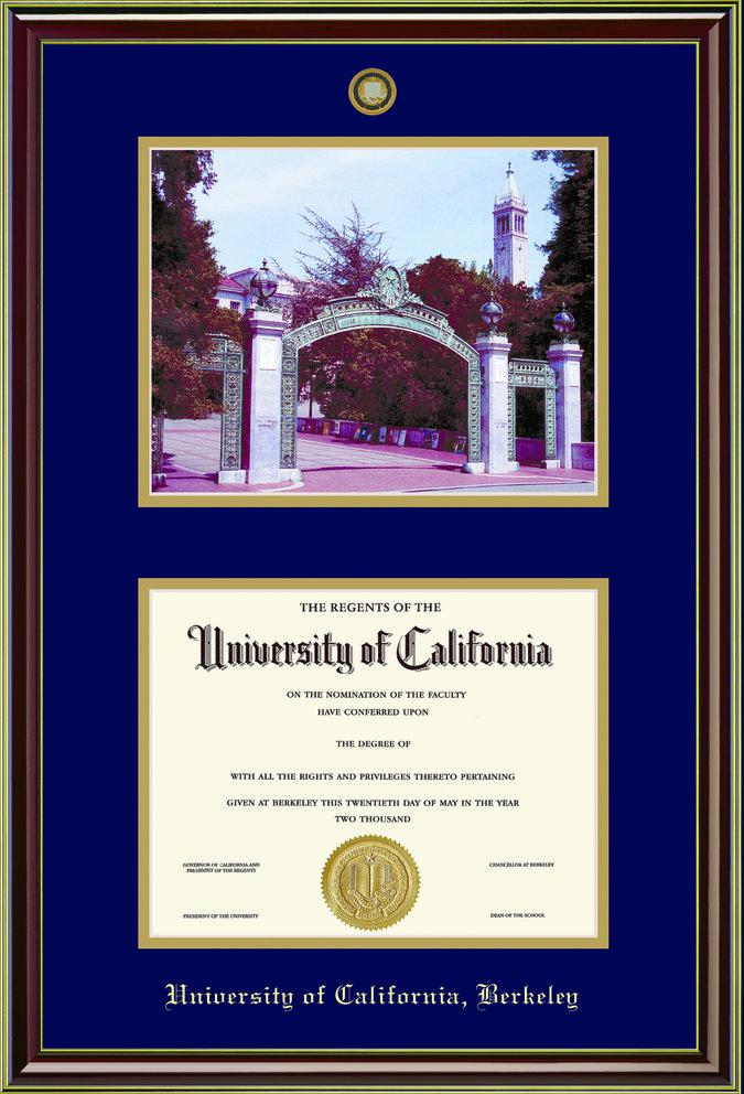 Diploma Frame Mahogany Gold Medallion & Photo