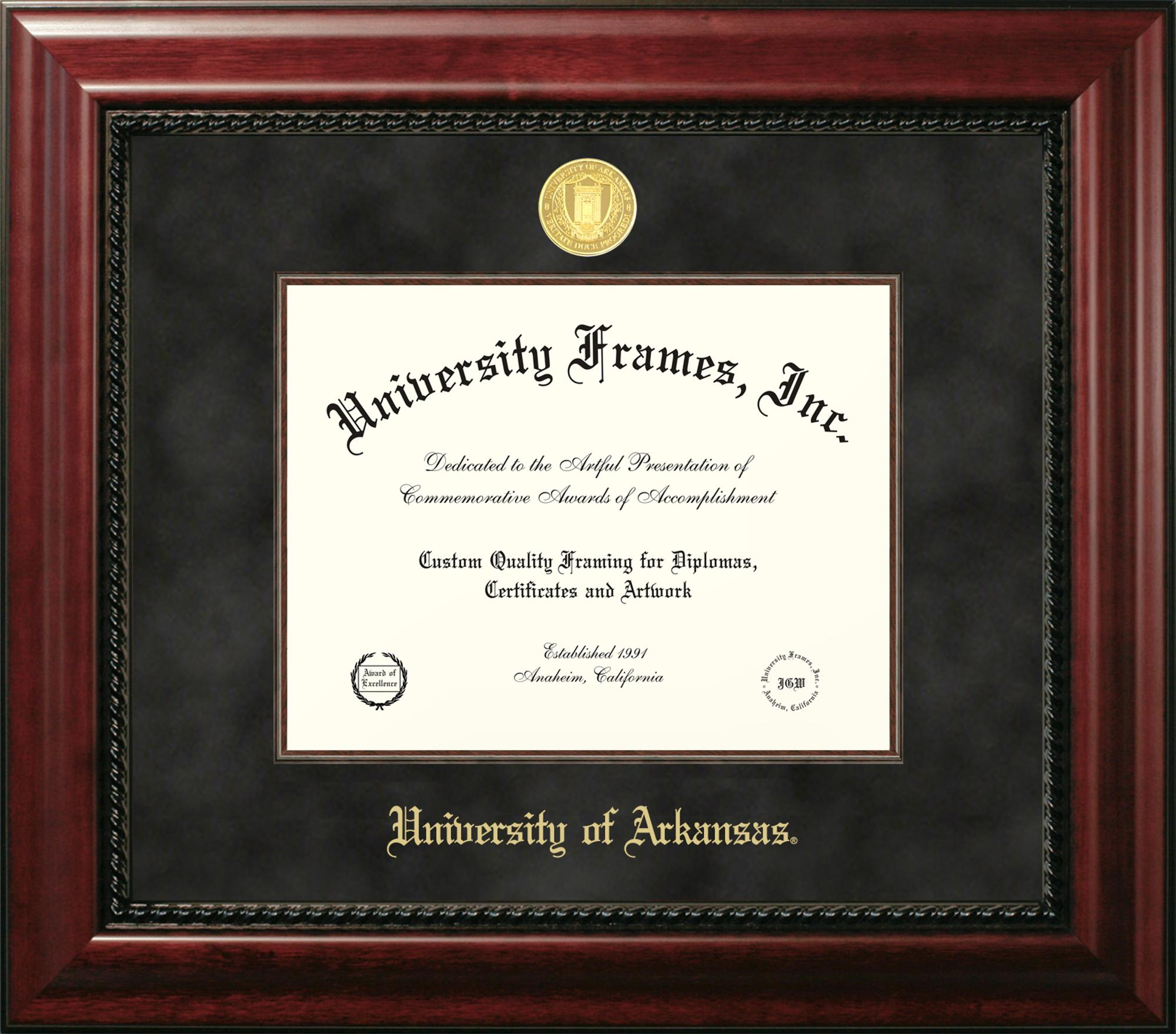 Image for University of Arkansas Executive Black Suede Diploma Frame