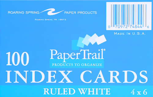 PaperTrail 100 Ruled Index Cards