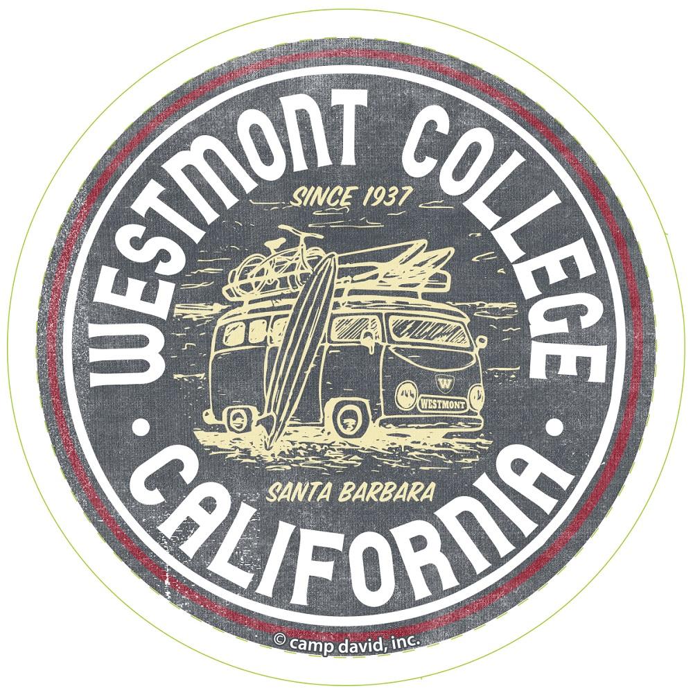 "image of: Camp David Westmont CA Circle 3"" x 3"" Decal"