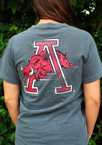 Arkansas Razorbacks Comfort Color Hog Thru A Tee- Pepper