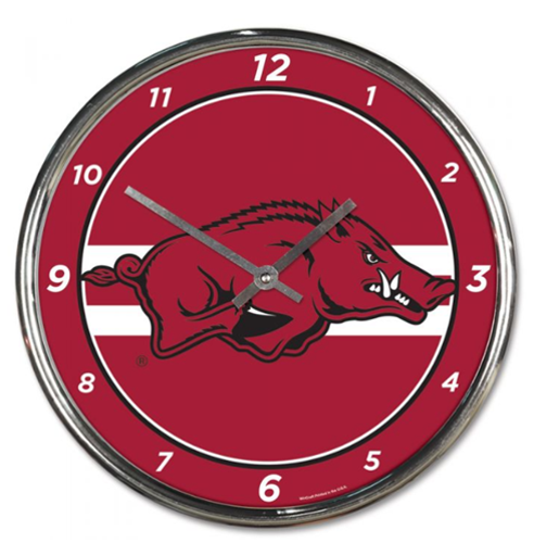 Arkansas Razorbacks Chrome Clock - Red