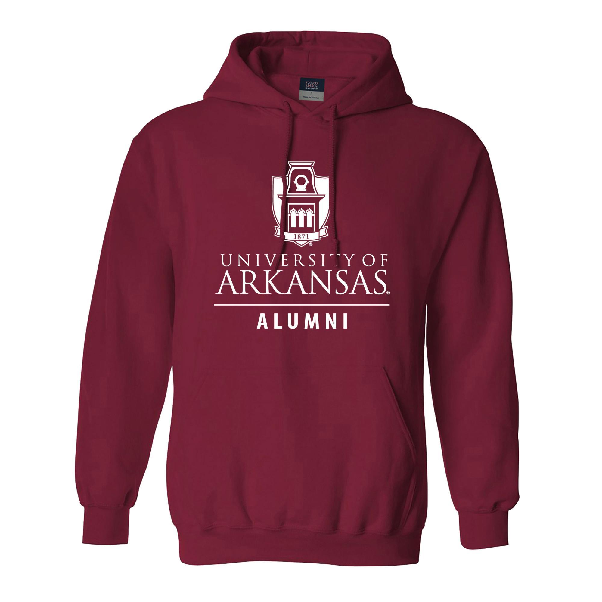 image of: University of Arkansas Old Main Tower Alumni Hoodie- Crimson