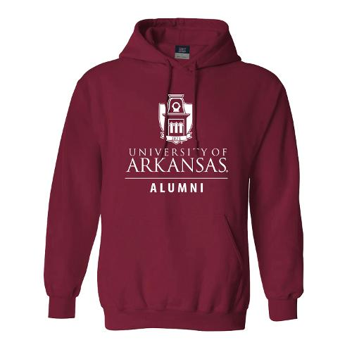 University of Arkansas Old Main Tower Alumni Hoodie- Crimson