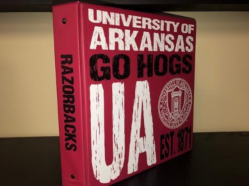 """University of Arkansas """"Go Hogs"""" Samsill Branded 1.5 Inch Seal Ring Binder - Burgandy"""