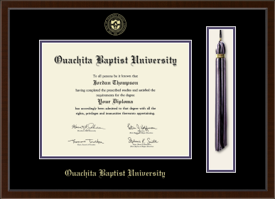 image of: Tassel Edition Diploma Frame in Delta with Black & Purple Mats