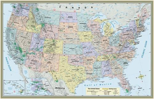 UNITED STATES MAP LAMINATED POSTER