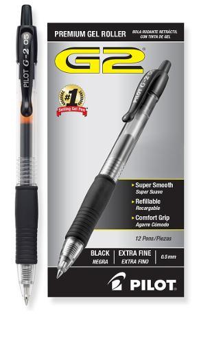 Pilot G2 Retractable Gel Pen Extra Fine Blk