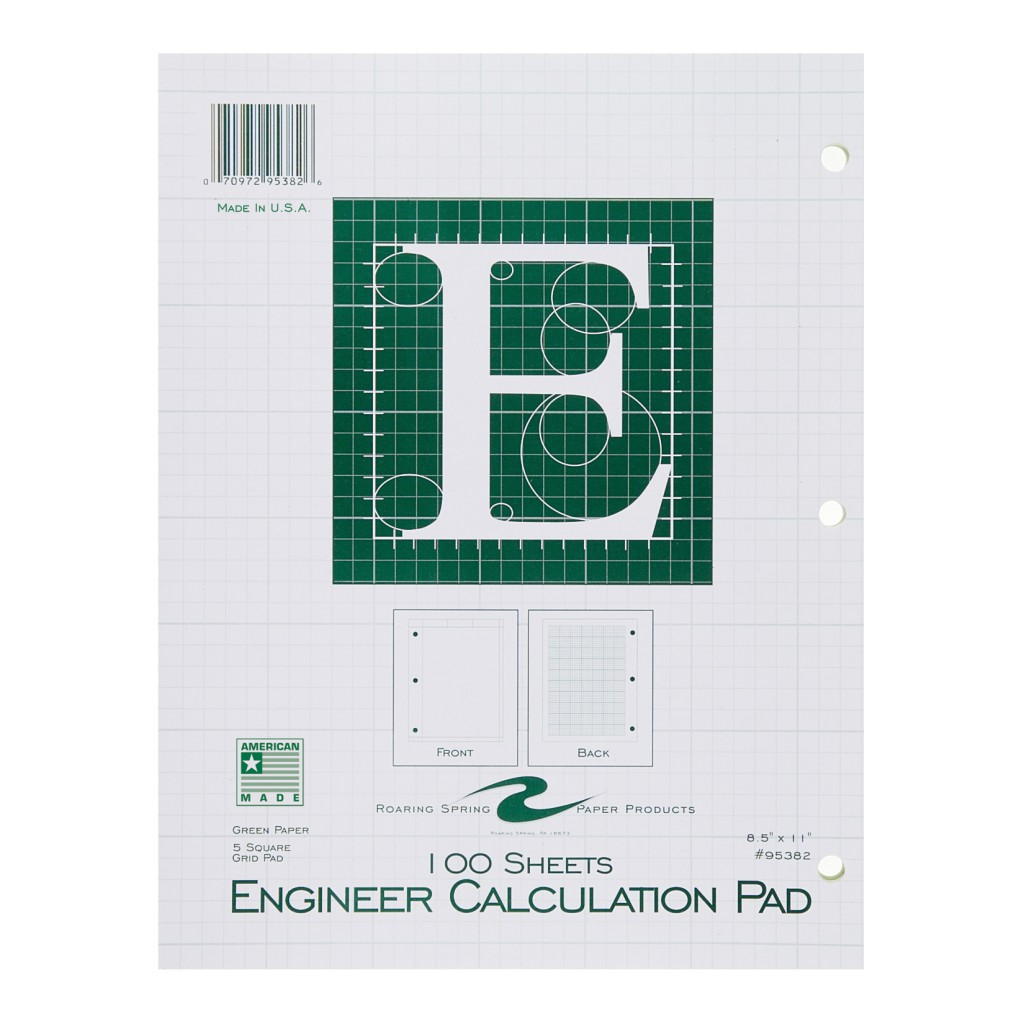 Engineering Paper Calculation Pad- 070972953826