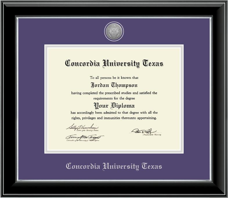 11x14 Onyx Silver Engraved Medallion Diploma Frame