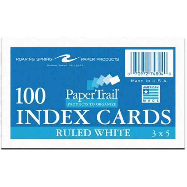 """Paper Trail Ruled 3""""x5"""" Index Cards, Pack of 100"""