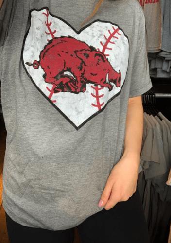 Arkansas Razorbacks Baseball Heart Hog Tee- Triblend Grey